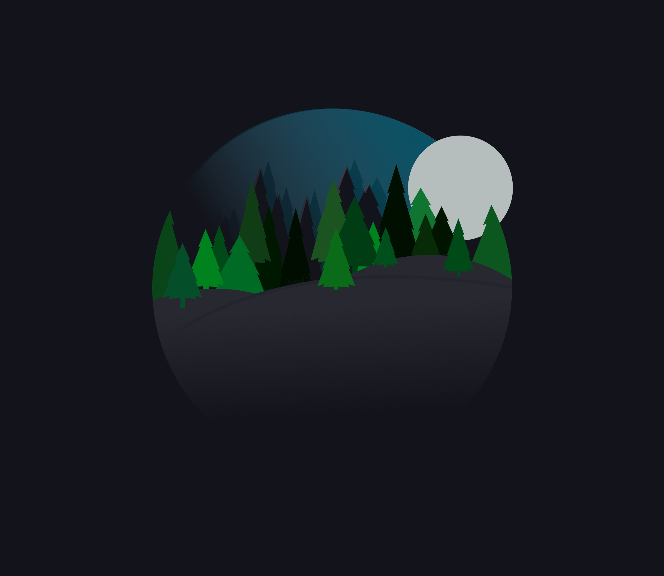 Clipart - A Nighttime Forest Scene with Trees that is Round