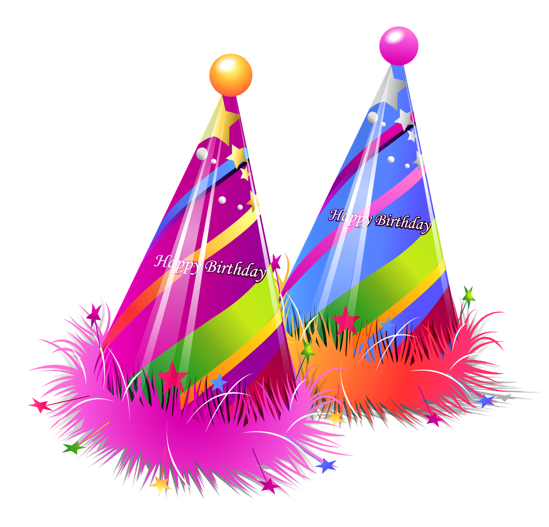 Happy Birthday Party Hats Transparent PNG Clipart