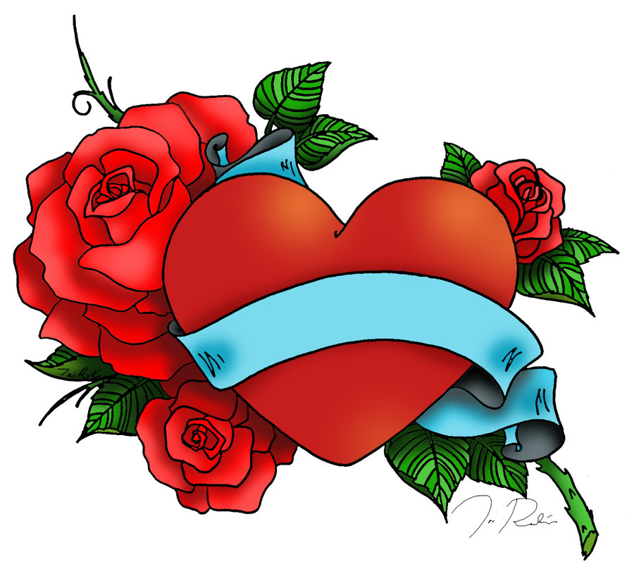 e1d9a9652a86f Red Roses Heart Tattoo Design With Blue Banner | Tattoobite.com