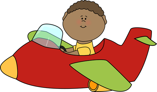 Kid Flying an Airplane Clip Art - Kid Flying an Airplane Image