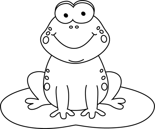 Black and White Cartoon Frog on a Lily Pad Clip Art - Black and ...