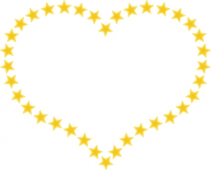 Heart Shaped Border With Yellow Stars clip art - Download free ...