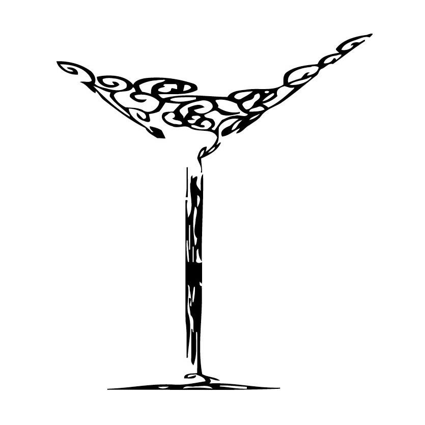 Martini-Glass-Vinyl-Wall-Art-L ...