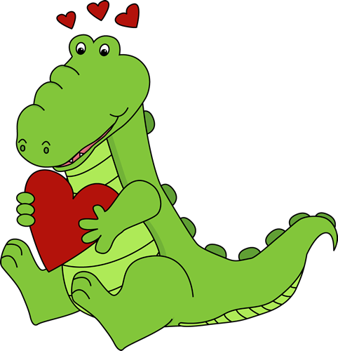Alligator Valentine's Day Love Clip Art - Alligator Valentine's ...