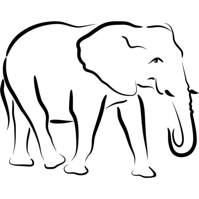 Elephant Outline Wall Sticker Animal Wall Decal Art Ebay