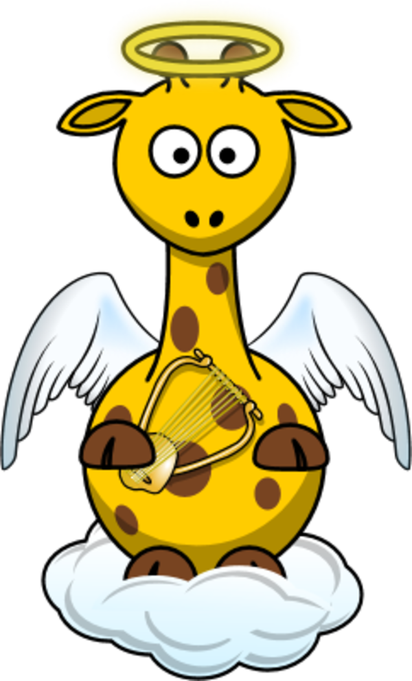 Giraffe angle wings cloud holding a harp - vector Clip Art