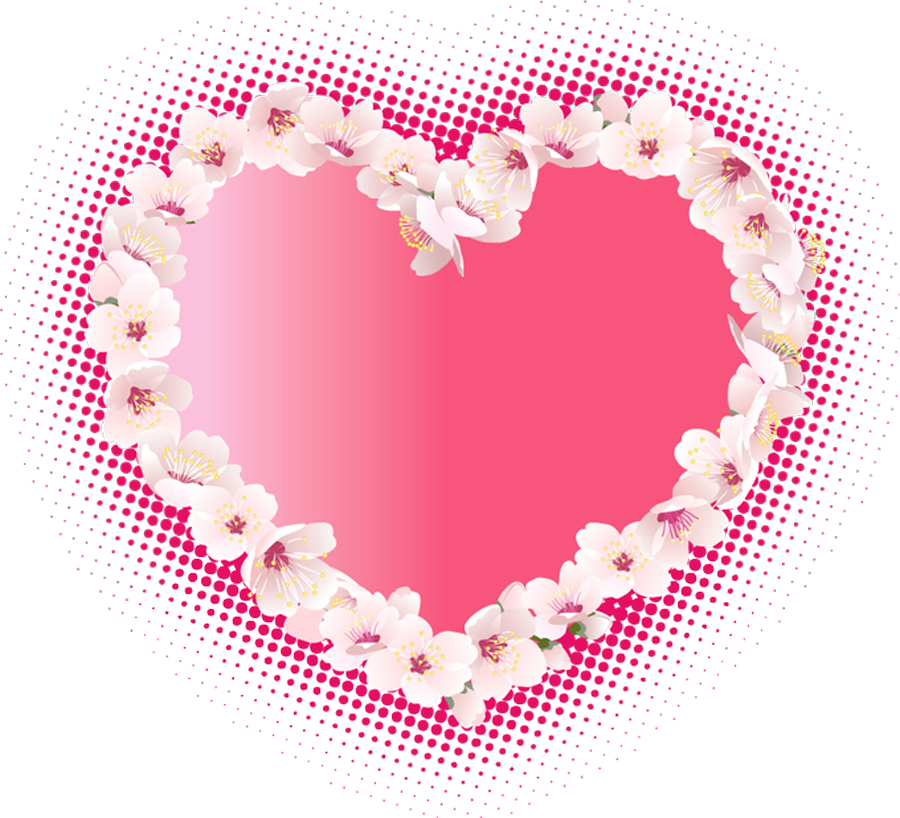 Pink Heart with Flowers Clipart