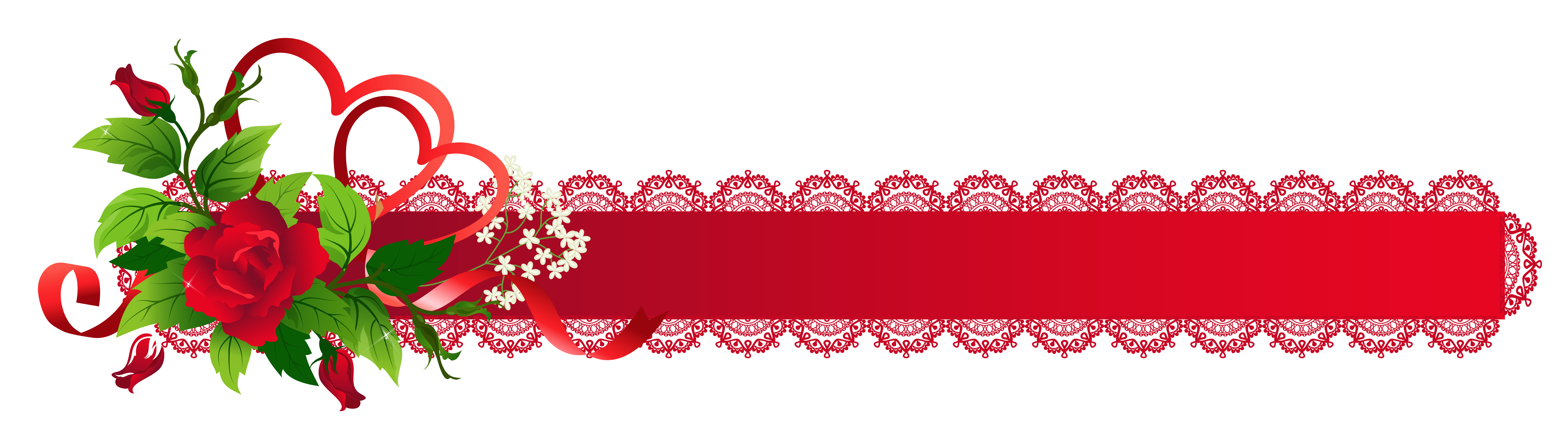 Red Deco Ribbon With Rose PNG Clipart - Cliparts.co