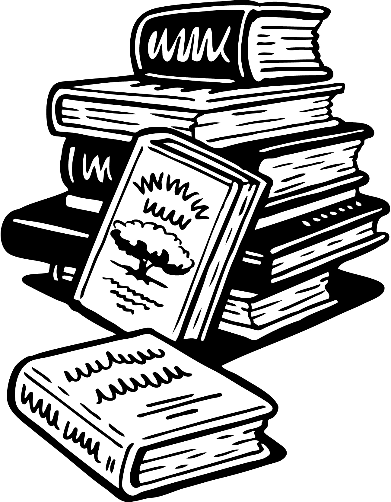 Images For > Stack Of Books Cartoon Black And White