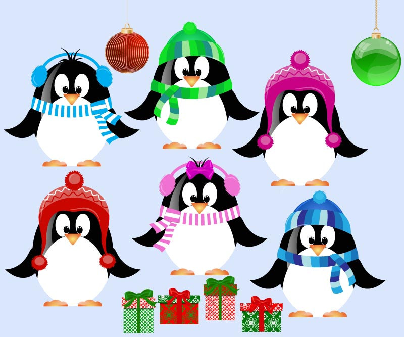 ETSY Cute Christmas Penguin Clip Art for scrapbooking by manuna