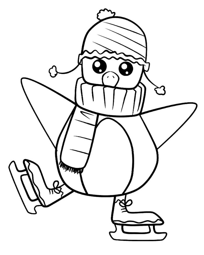 penguins ice skating coloring pages - photo#2