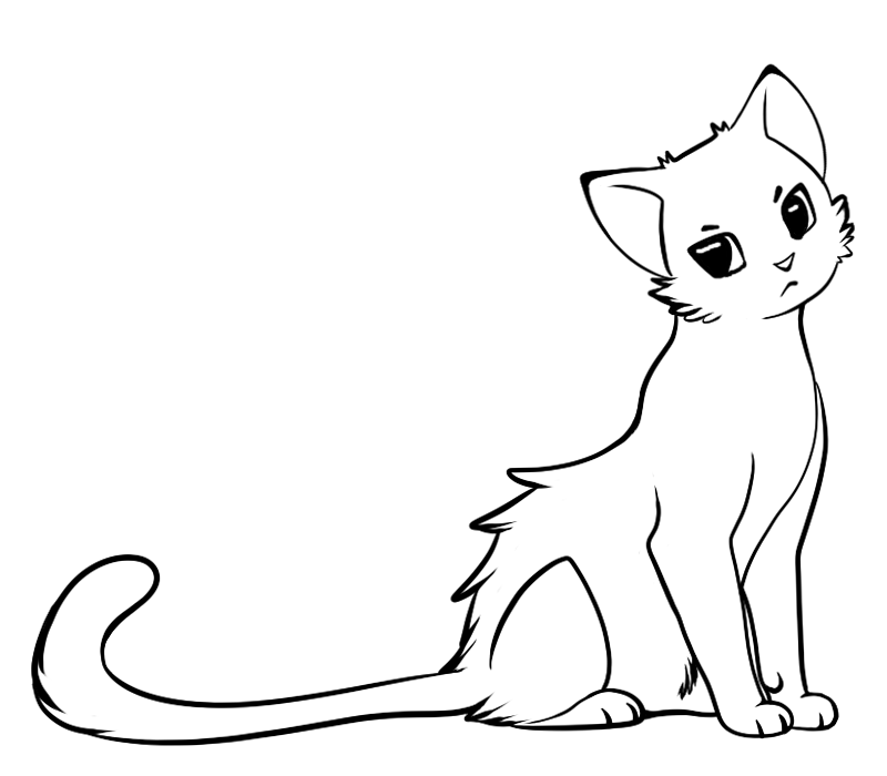 Line Drawing Kitten : Line art cat cliparts