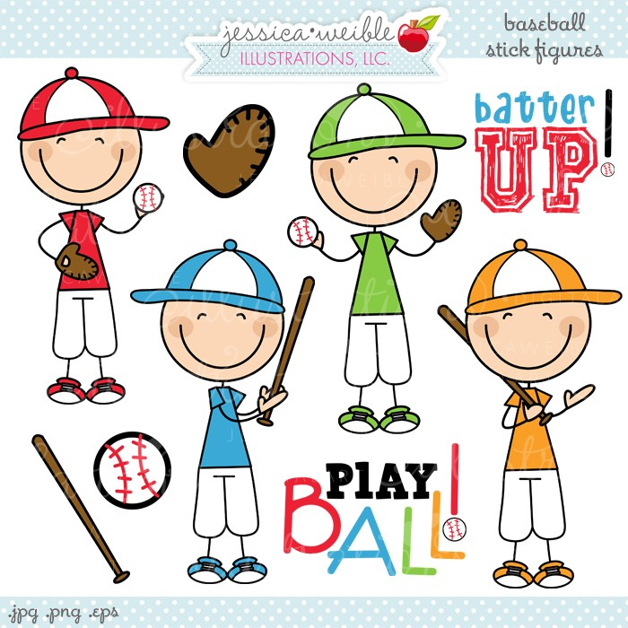 Baseball Stick Figures Clipart - JW Illustrations
