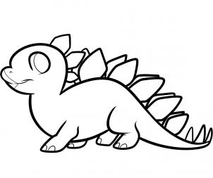 How to Draw a Stegosaurus for Kids, Step by Step, Dinosaurs For ...