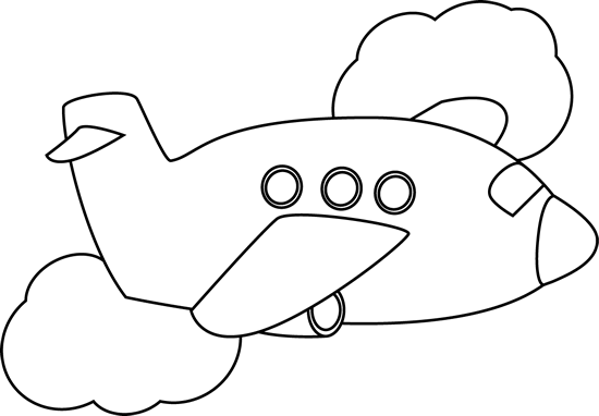 Black and White Airplane Flying Through Clouds Clip Art - Black ...