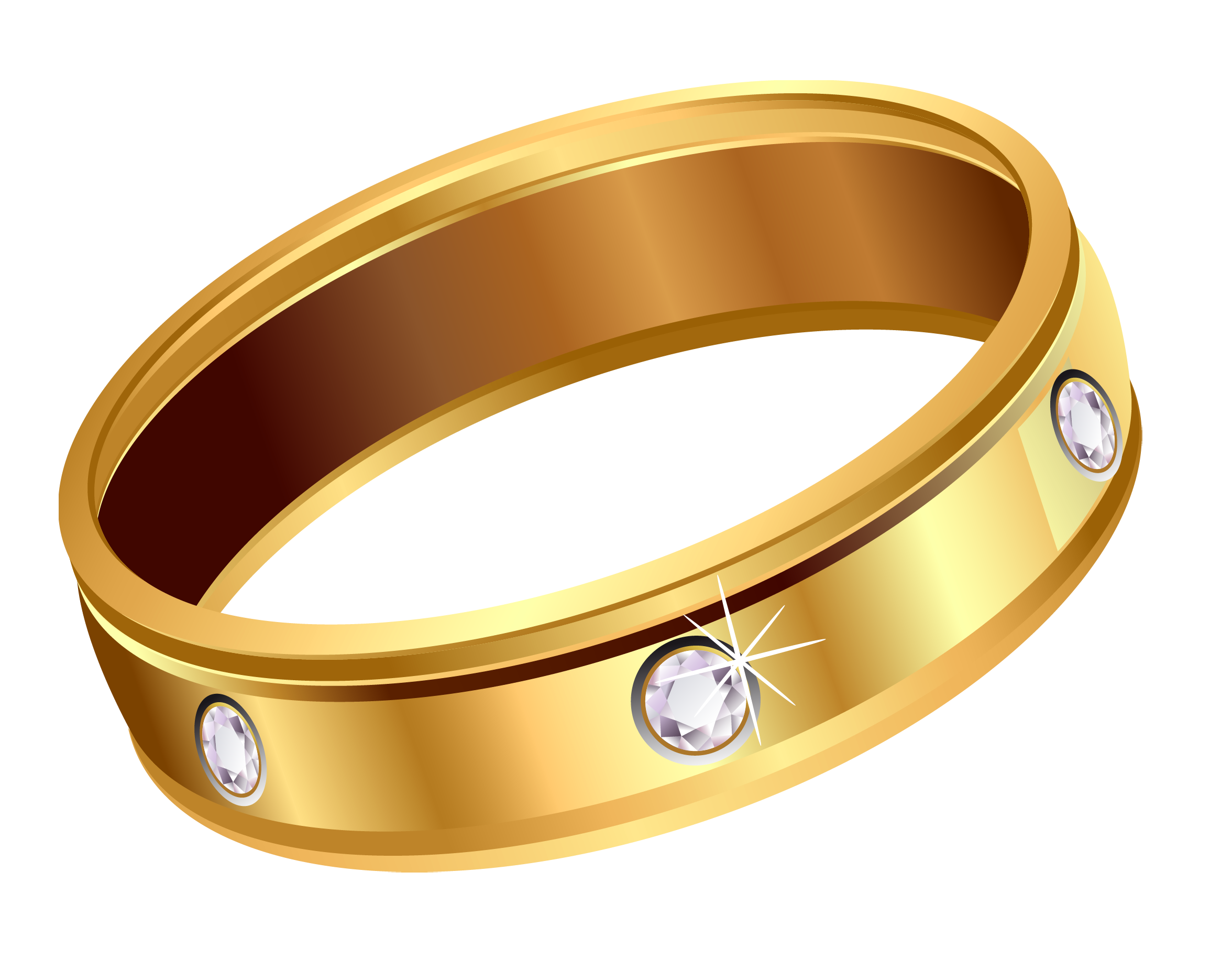 Transparent Gold Ring with Diamonds PNG Clipart
