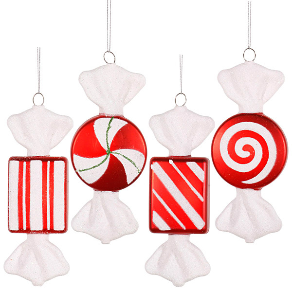 Assorted Peppermint Candy Ornaments - 6 Inch: 4-Piece Box ...