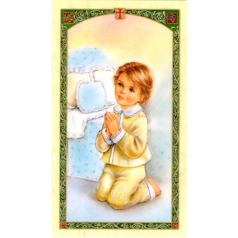 Guardian Angel with Boy Spanish Holy Card at Indio Products