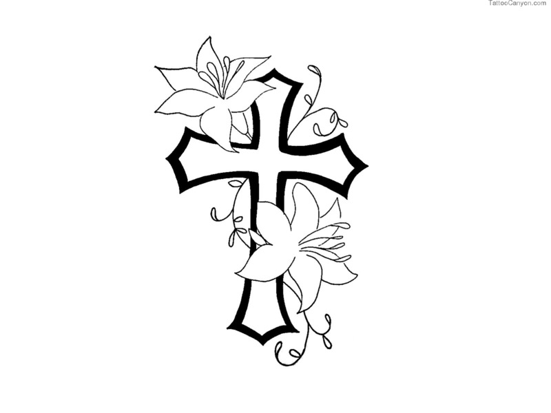 Free Designs Cross With Flower Contour Tattoo Wallpaper Picture #