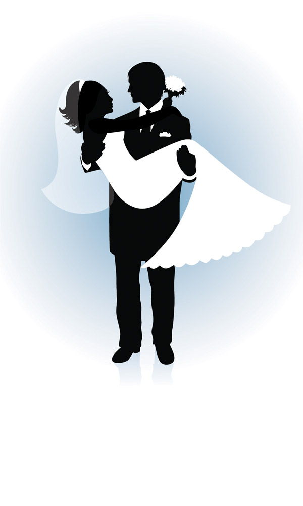 free wedding couple silhouette clip art - photo #42