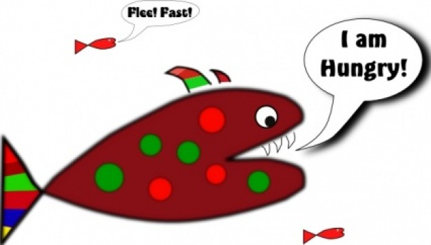 funny fish saying I am hungry clip art with White background ...