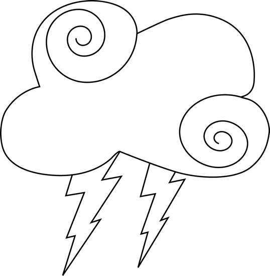 Black and White Swirly Cloud and Lightning Clip Art - Black and ...