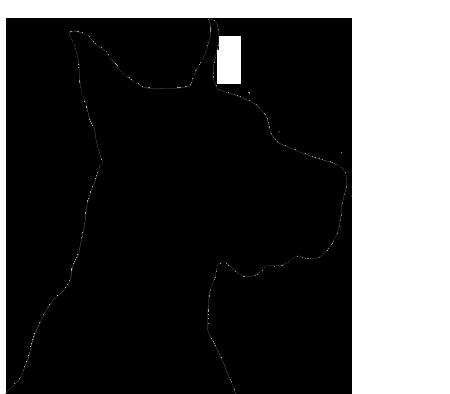 Black Great Dane Puppy Dog Head Silhouette - ...