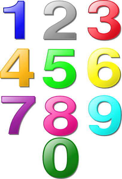 Colorful Numbers clip art - vector clip art online, royalty free ...