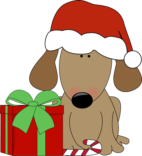 Dog with Christmas Gift and Candy Cane Clip Art - Dog with ...
