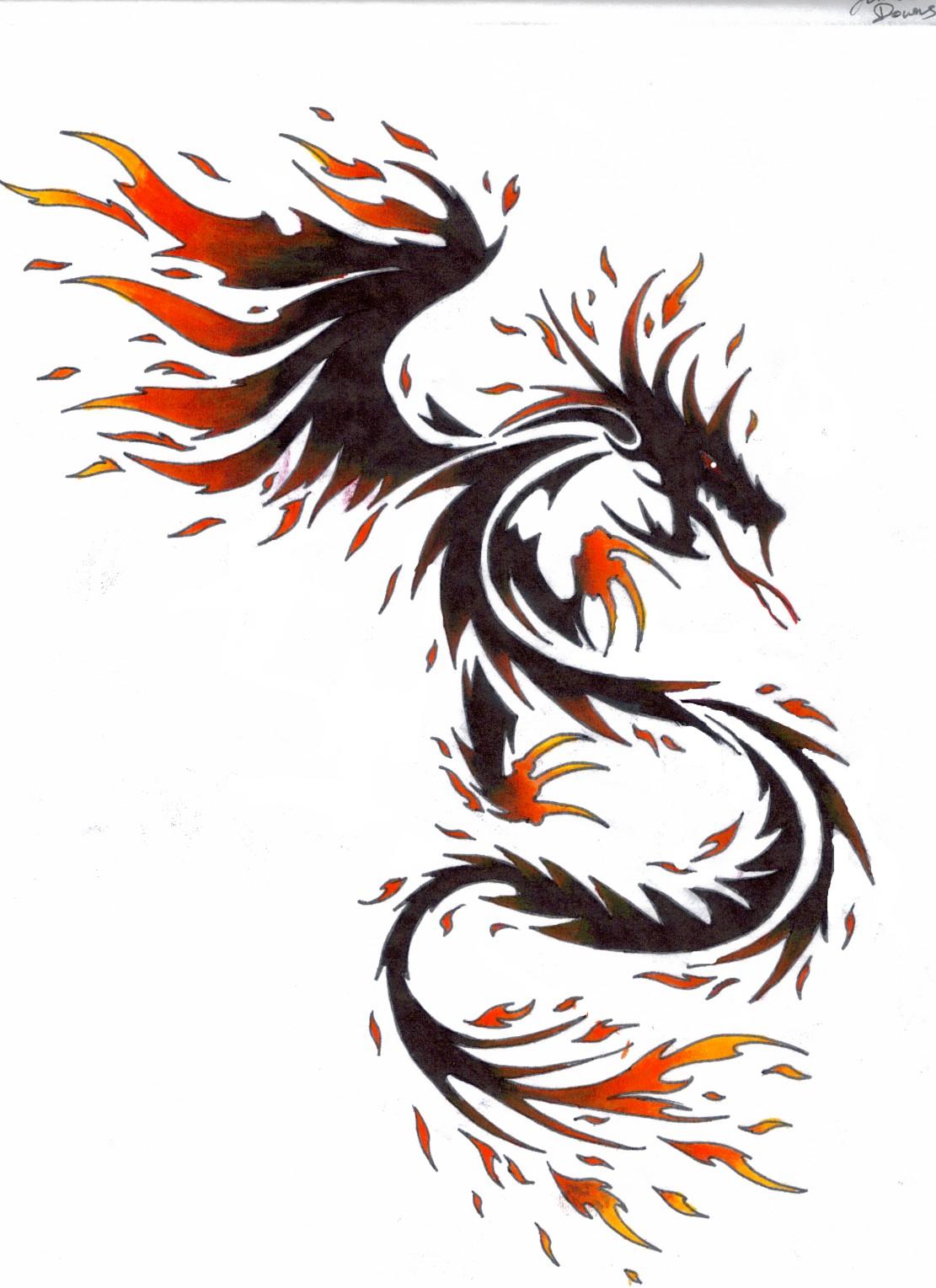 Эскизы женских тату дракон