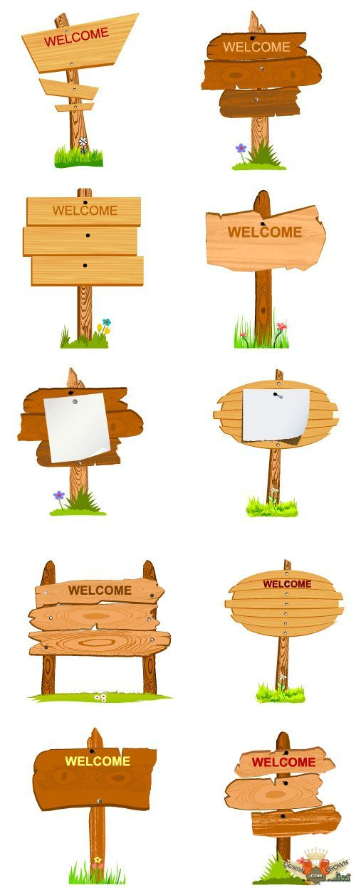 Free vector clip art billboards from wood for design in Illustrator