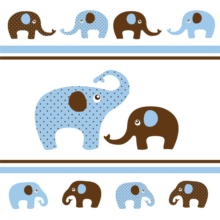 Digital Clip Art - Elephants in Baby Blue and Brown - 12 Elephants