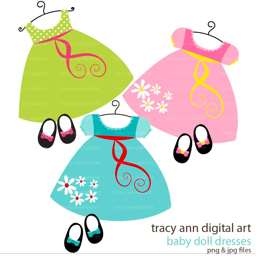 Clip Art Baby Doll dress and shoes by TracyAnnDigitalArt on Etsy