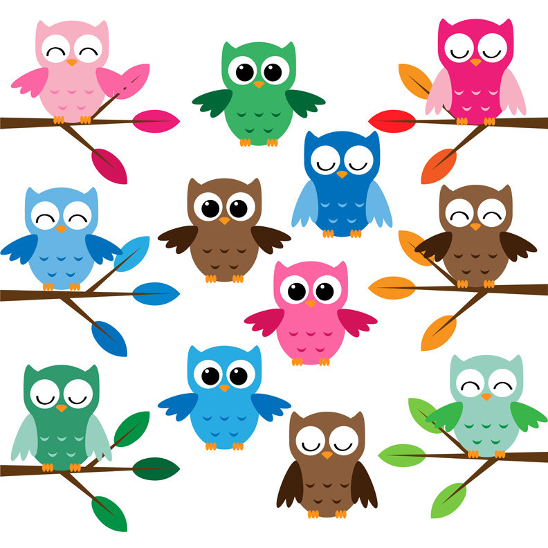 Cute owls clip art set | Flickr - Photo Sharing!