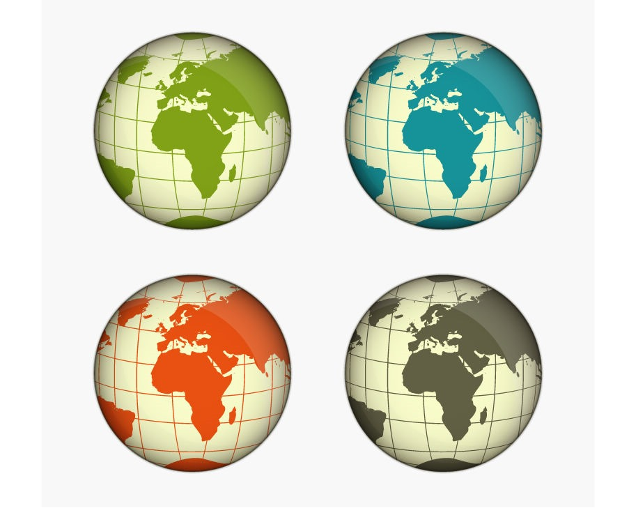 Green, Blue, Yellow and Gray Globe Vector Illustration | Free ...