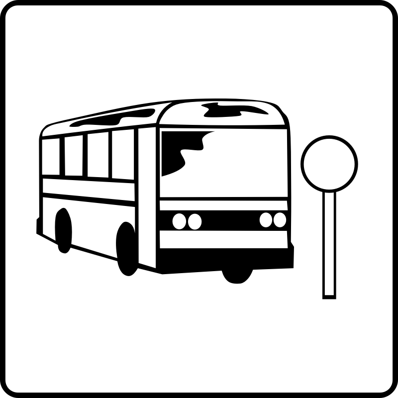 Clipart - Hotel Icon Near Bus Stop