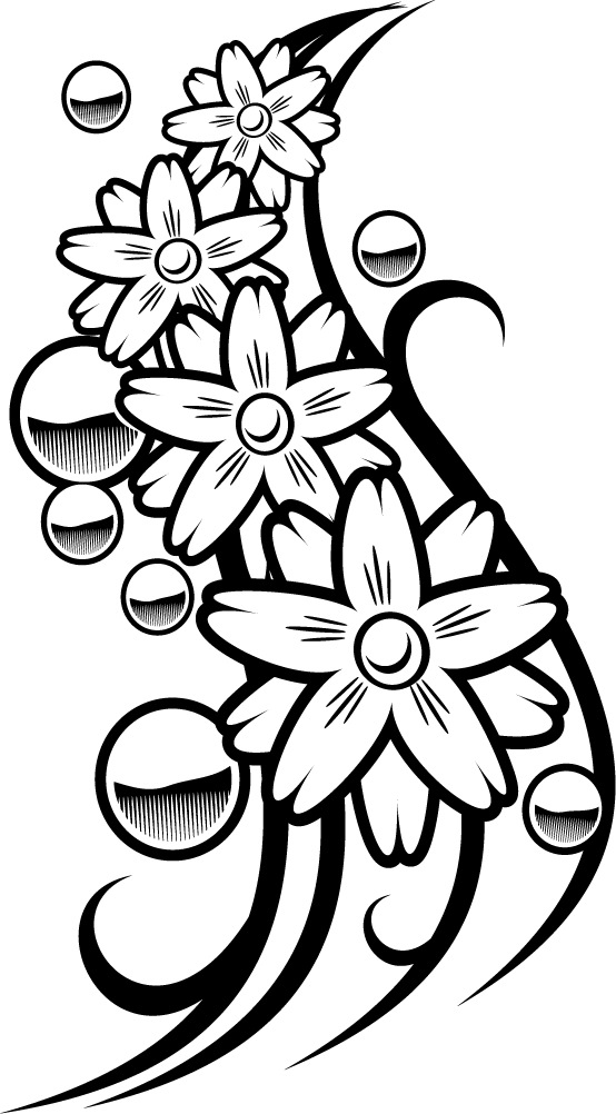 colouring page of a flower balls tattoo for coloring - Coloring Point