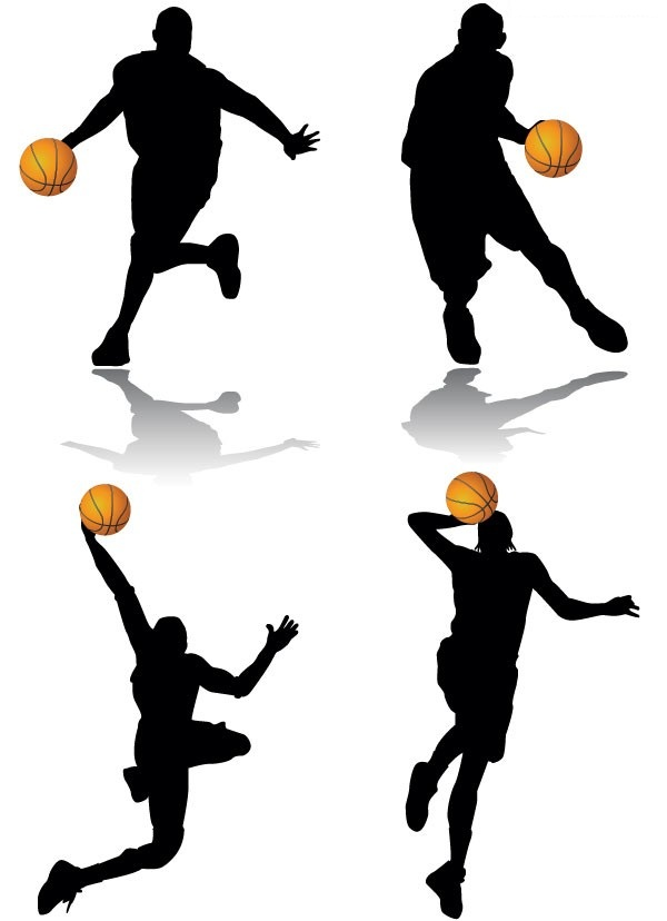 A group of classic basketball action silhouette vector material
