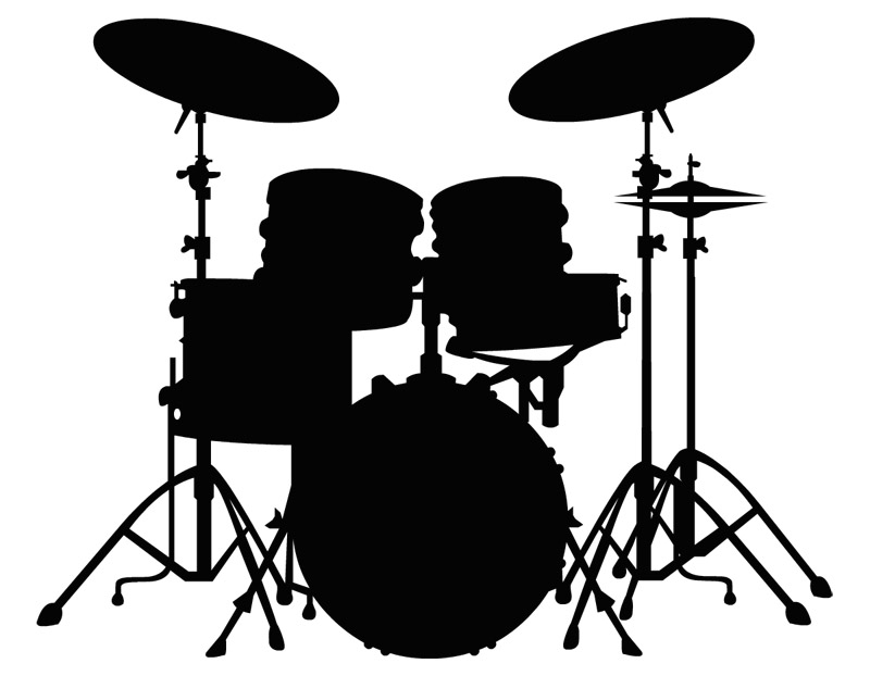 Drum Set Silhouette Wall Clipart - Free Clip Art Images White Drum Set Silhouette