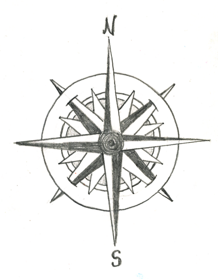 Compass Tattoo Line Drawing : Rose compass drawing cliparts