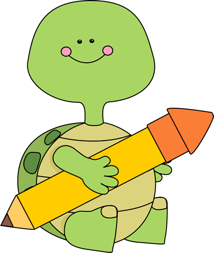 Turtle Holding a Pencil Clip Art - Turtle Holding a Pencil Image