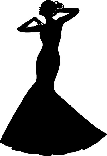Clip Art Illustration of a Spring Bride in a Strapless Gown ...