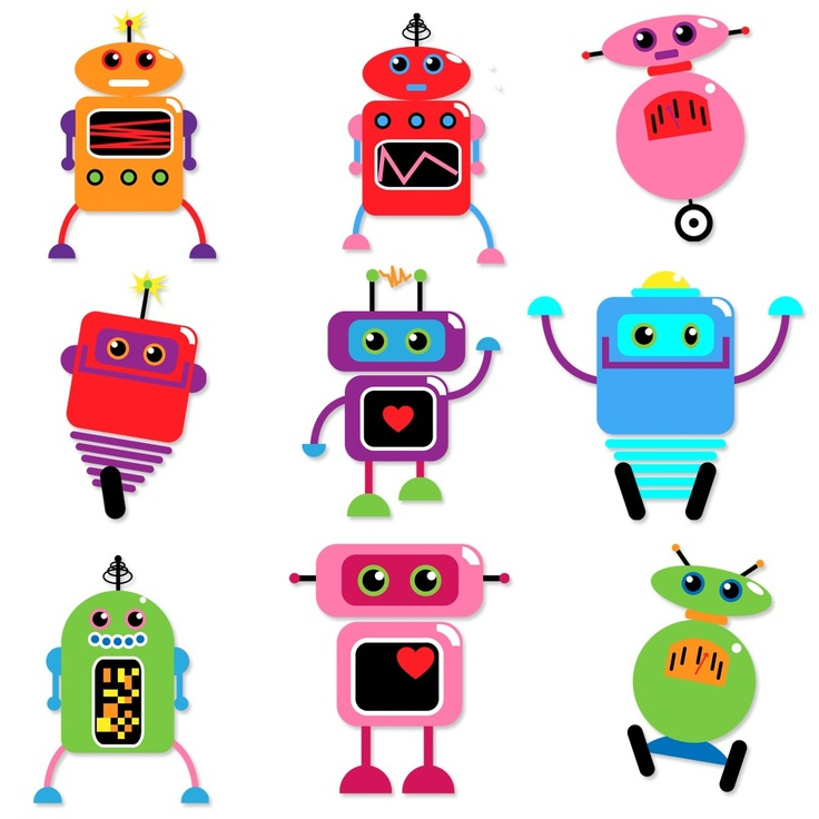 Robots Clip Art Clipart - Commercial and Personal Use