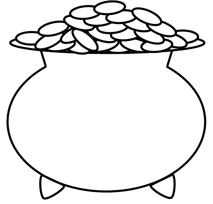 Pot Of Gold Outline - Cliparts.co