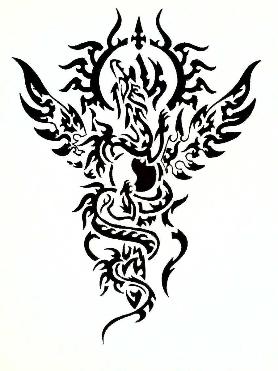 Black And White Dragon Tattoo - Cliparts.co