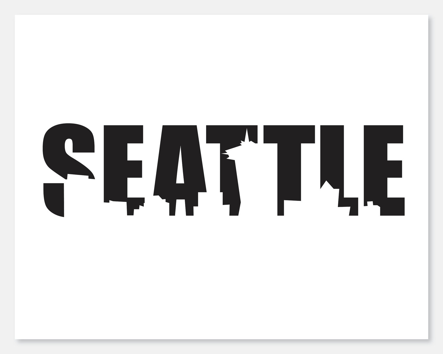 Seattle Skyline Cutout Print by taraphotographics on Etsy