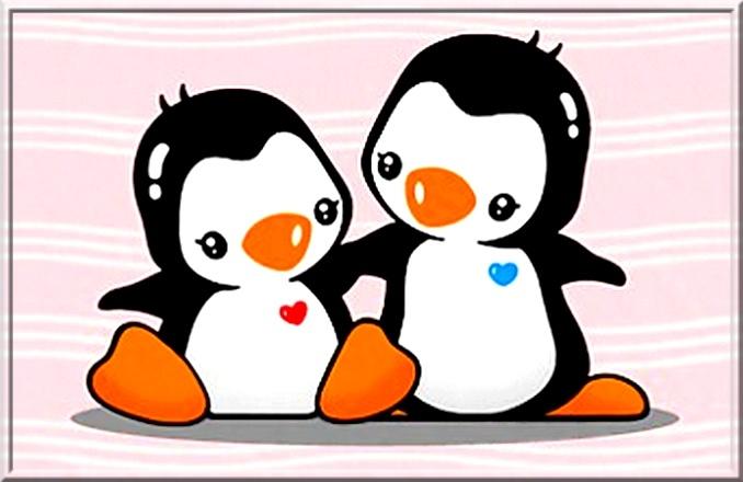 Cartoon penguins holding hands - photo#11