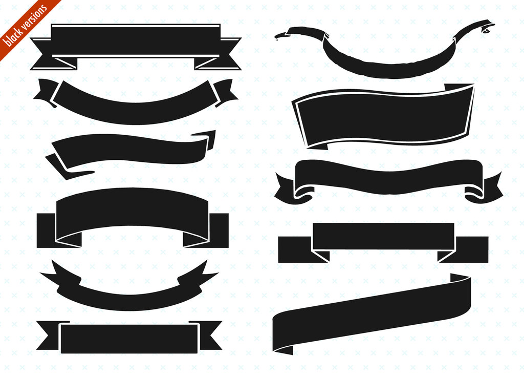 Ribbon Vector Black White Png - Cliparts.co