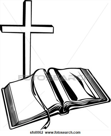 Holy Bible And Cross Drawings