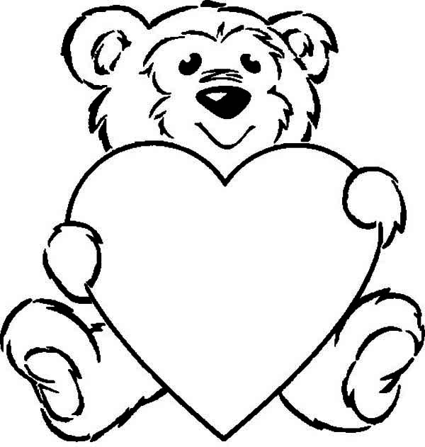 coloring pages teddy bear heart | Teddy Bear Holding A Heart - Cliparts.co